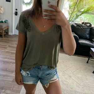 AEO Soft n' Sexy olive floral embroidered v neck